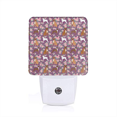 Led Night Light Boxer Dog Florals Pattern Rose Amethyst Auto Senor Dusk to Dawn Night Light Plug in for Baby, Kids, Children's Adults Room - Floral Boxer