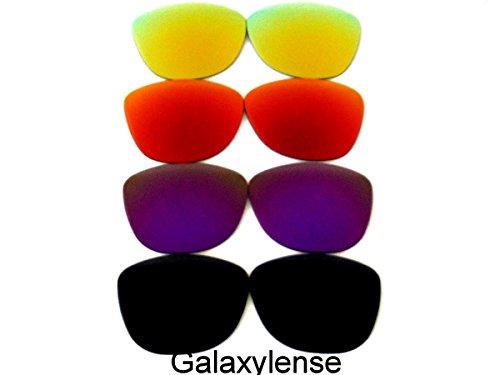 Galaxis Ersatzgläser für Oakley Frogskins Schwarz/Lila/Rot/Gold Polarisiert 4Paar