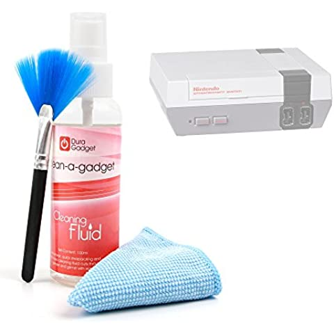 DURAGADGET Kit De Limpieza Para Consola Nintendo NES Classic Mini - Limpiador + Paño De Microfibra + Brocha - Fórmula Especial Anti