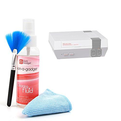 DURAGADGET Pack Reinigen für Nintendo Classic Mini-Reinigungstuch + Spray Reiniger + Bürste
