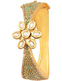 I Jewels 24K Gold Plated Hand Made Jadau Kundan Meenakari Brass Bracelet for Women (ADB170G)