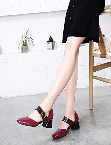 HWF Scarpe donna Spring Shallow Mouth Single Shoes Scarpe da donna con tacco alto da donna stile British femminile. Scarpe col tacco alto casual ( Colore : Red Brown , dimensioni : 39 ) Red Brown