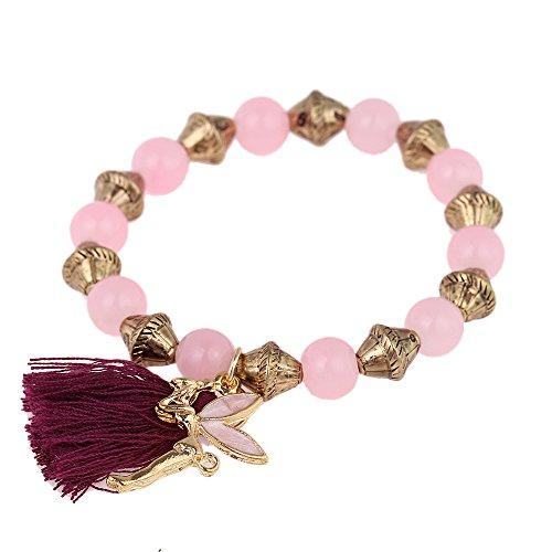 CHICNET Armband Brass golden lila Quaste rosa Perlen Charm Elfe verstellbar