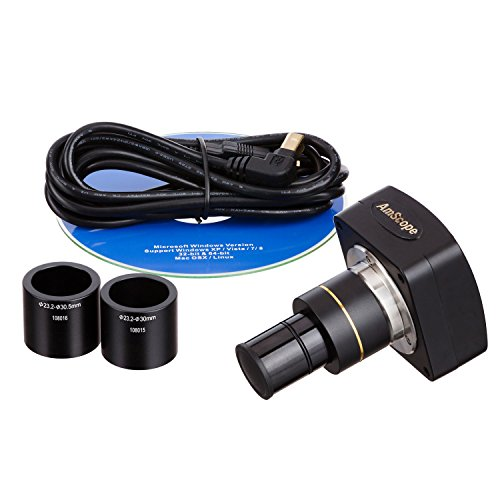 AmScope MU500-PB10 5MP USB Camera for Microscopes + Software + Test Slides, Compatible with Windows XP/Vista/7/8 and Mac OS 10.6 & Up