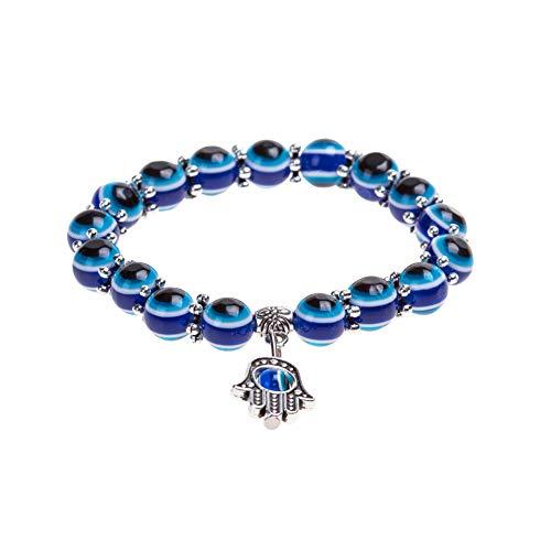 iHOMIKI Blaue Augen-Entwurfs-Mode-Kristall Türkisch Augen-Armband Lucky Charm Armband für Frauen und Männer einzigartige stilvolle Handgelenk-Ketten
