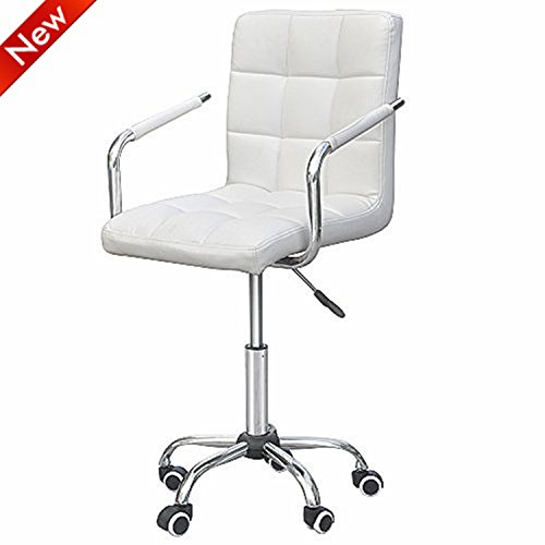 Popamazing White Faux Leather Home Office Computer Desk Chairs Swivel Stool Chair on Wheels