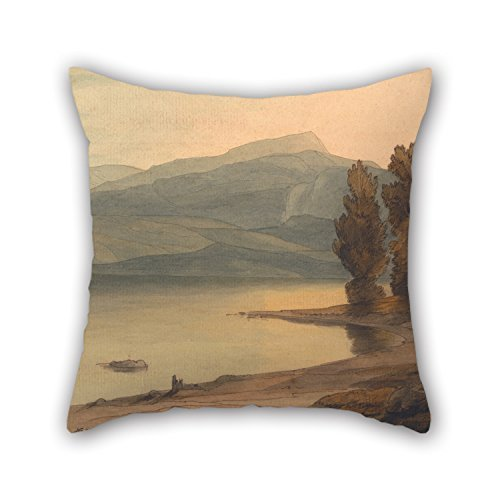 jinhua19 kissenbezüge Oil Painting Francis Towne - Windermere at Sunset Pillowcase 18 X 18 Inches / 45 by 45 cm Gift Or Decor for Deck Chair Relatives Her Office Lover Kitchen - Both Sides Windermere Rose