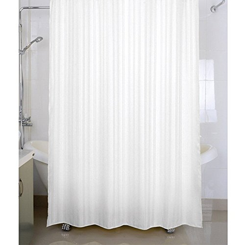 Housey Wousey Polyester Striped Waterproof Shower Curtain with Rings(72×80-inch, White)