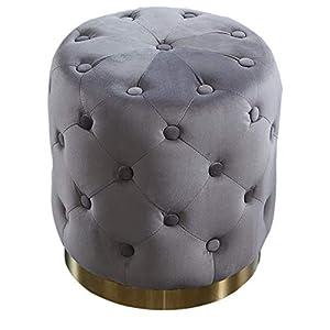 Invicta Interior Eleganter Samt Hocker MODERN BAROCK Chesterfield Altrosa Gold Sitzhocker Fußhocker Samtstoff