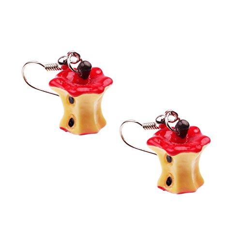 Snykk Apfel-Ohrringe - 2 Stück – rot angebissener Apfel (Apple-halloween-kostüme)
