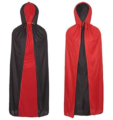 REDSTAR FANCY DRESS Doppelseitig Halloween Umhang Vampir Dracula Umhang Schwarz und Rot Kostüm Halloween