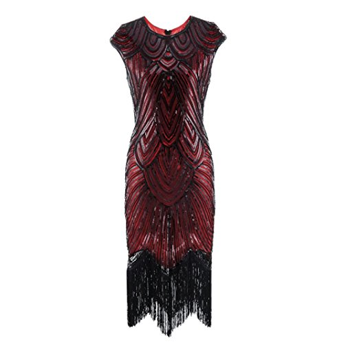 ave Pailletten Kleid Damen Quaste Prom Kleider Perlen Pailletten Art Nouveau Deco Flapper Dress (Rot, XL) (Fashion Flapper Plus Rotes Kleid)