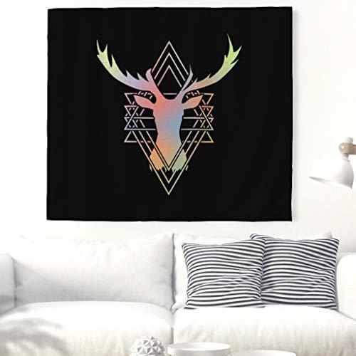 Geometrisch Jagd Hirsch Totem Wandteppich Ethnisch Elch Rotwild Symbol Wandkunst Tapisserie Indisch Mandala Wandbehang Dekor Tier Kunstwerk Wanddecke Böho Hippie Wandtuch Tischdecke white 79x59inch (Elch-jagd-dekor)