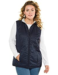 Ulla Popken Women's Plus Size Knit Trim Quilted Vest 715875