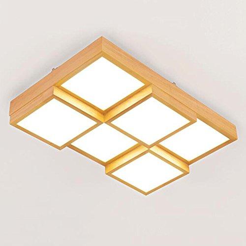 FUFU Luminaires intérieur Art simple carré moderne en bois clair réglable LED Plafonniers Salon salle à manger Plafonniers (Style, couleur claire en option) Eclairage