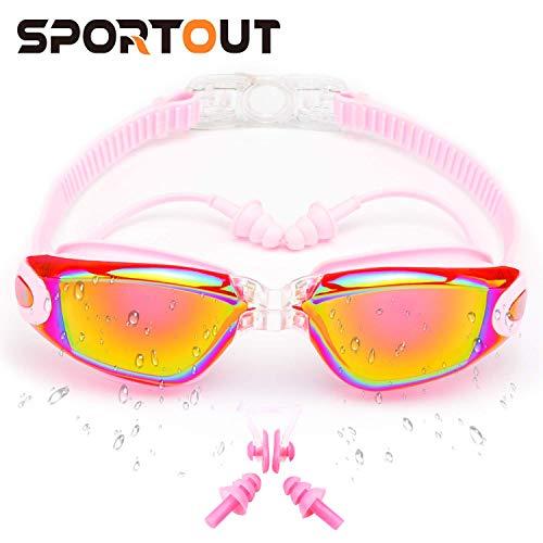 Sportout Schwimmbrille, gespiegelte Schwimmbrille, Keine auslaufende Anti-Beschlag UV-Schutzbrille, mit Nasenclip, Ohrstöpsel und Schutzhülle, für Männer, Frauen, Jugendliche und ältere Kinder (Rosa)