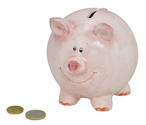 Preisvergleich Produktbild Sparschwein Rosa für Kinder & Erwachsene | Spar-Dose mit Schloss und Schlüssel | Glücks-Schwein Sparbüchse für Kleingeld & Scheine | Abschließbarer Keramik-Glücksbringer zum Sparen | Sicher & Süß