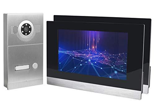 GVS IP Video Türsprechanlage, Aufputz-Türstation IP65, 2X 10 Zoll Monitor, Handy-App, HD-Kamera 115°, Türöffner-Funktion, 32GB Foto-/Video-Speicher, PoE-Switch, 1 Familienhaus Set, AVS2056A -