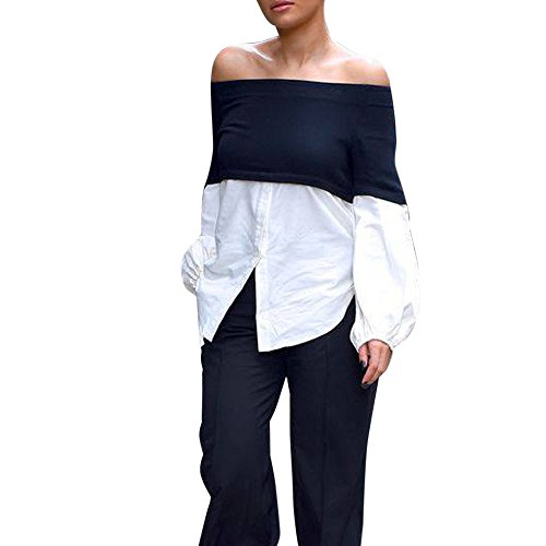 Donna spalla senza spalline maglietta bottone maniche lunga sexy clubwear camicetta (m)