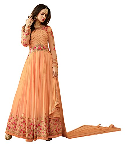 Vastrang Women's Georgette Anarkali Traditional Embroidered Gown Suit With Dupatta For Party...
