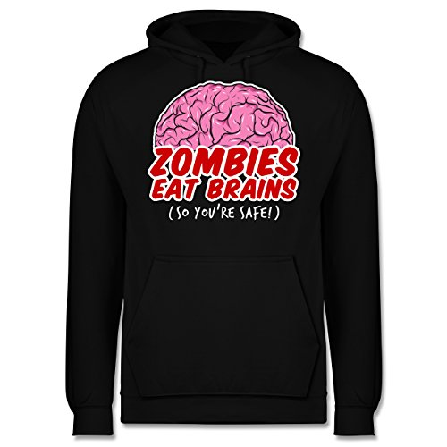 Shirtracer Halloween - Zombies eat Brains - so You´re Safe! - XXL - Schwarz - JH001 - Herren ()