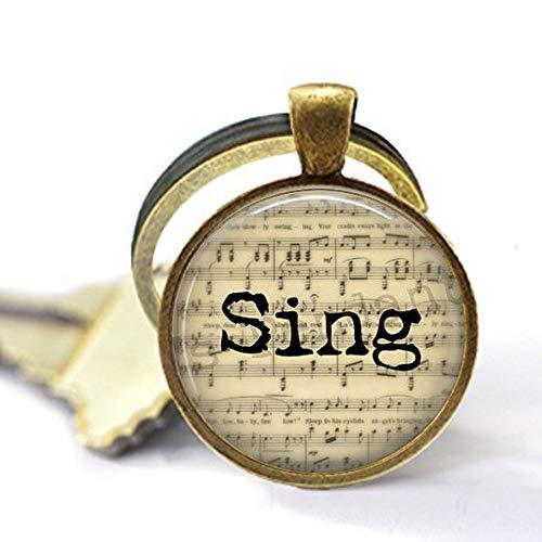bab Sing Musik Schmuck - Geschenk für Sänger - Chorus - Sänger Schlüsselanhänger - Sänger - Choir Schlüsselanhänger - Notenblatt Schlüsselanhänger