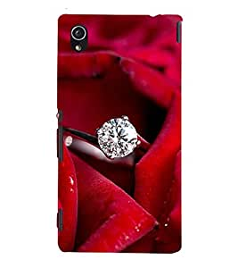 FUSON Diamond Ring Red Rose 3D Hard Polycarbonate Designer Back Case Cover for Sony Xperia M4 Aqua :: Sony Xperia M4 Aqua Dual
