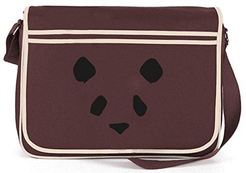 Bad Panda, Panda Face Gesicht Retro Messenger Bag Kuriertasche Umhängetasche Braun