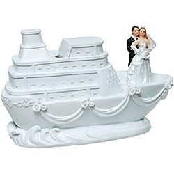 Brautpaar Hochzeitspaar Spardose Sparbüchse Geldgeschenk Tortenaufsatz Tortenfigur Cake Topper | Paar auf Schiff | 10,5 x 16,5 cm