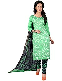 Taboody Empire Sober Parrot Satin Cotton Handi Crafts Bandhani Work With Straight Salwar Suit For Girls And Women
