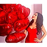 My Party Store Dot Com Red Heart Shape Foil Balloons (Pack of 10, Size 18 Inches Each) for All Kind of Party Decoration (RED