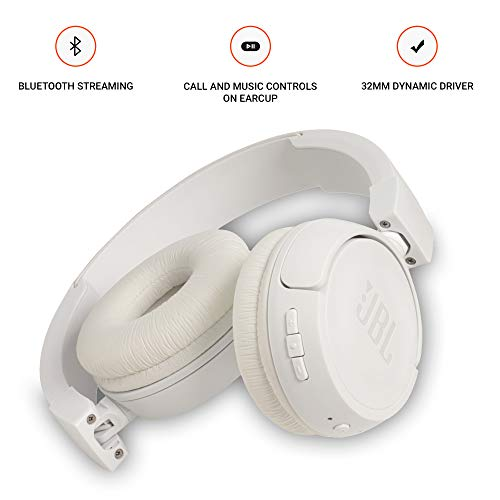 JBL T460BT Extra Bass Wireless On-Ear Headphones with Mic (White) Image 3