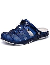Easemax Herren Unisex Atmungsaktiv Flach Slip on Pantoffeln mit Profilsohle Blau 39 EU