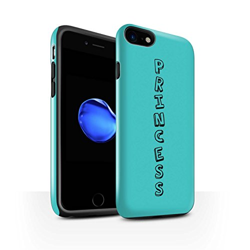 STUFF4 Glanz Harten Stoßfest Hülle / Case für Apple iPhone 8 / Blau/Fabelhaft Muster / Gekritzel Wörter Kollektion Blau/Prinzessin
