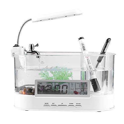 Garosa USB Mini Aquarium mit Fließendes Wasser LCD Zeit Uhr Alarm LED Lampe Licht Kalender für Haus Büro Dekor (Ohne Batterie)(Weiß) (Alarm-zen)