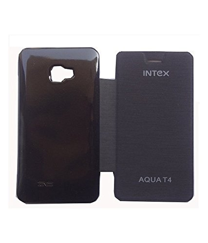 Stromax Flip Cover For Intex Aqua T4 - Black  available at amazon for Rs.149