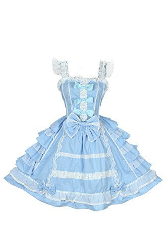 Nuoqi Damen lolita kleider süß ärmellose Lace Bow Dress prinzessin kostuem Maid Cosplay Kostüm Blau (Lace Victorian Kleid)