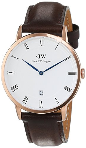 Daniel Wellington Herren Analog Quarz Smart Watch Armbanduhr mit Leder Armband DW00100086