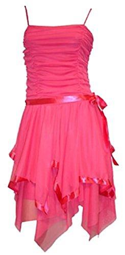 SugerDiva® Damen Strappy Ball Abend Party Kleid mit Satin Schleife Fuchsia