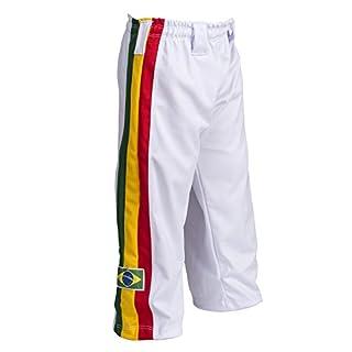 Brasilianische Kinder Jungen Mädchen Klasse 6-14 yr Capoeira Hose Weiß Reggae Abada Martial Arts Elastische