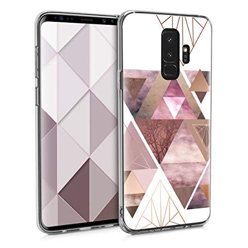 kwmobile Samsung Galaxy S9 Plus Hülle - Handyhülle für Samsung Galaxy S9 Plus - Handy Case in Glory Dreieck Muster Design Rosa Rosegold Weiß