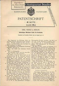 Patentschrift Nr. 141772. Klasse 49 d: Selbsttätiges Mitnehmer-Futter für Drehbänke.