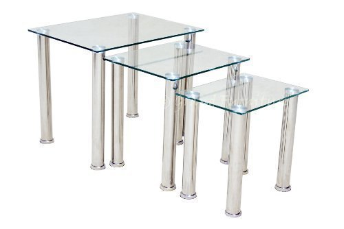 Modern clear glass chrome nest of tables 3 set side lamp for Modern nest of coffee tables