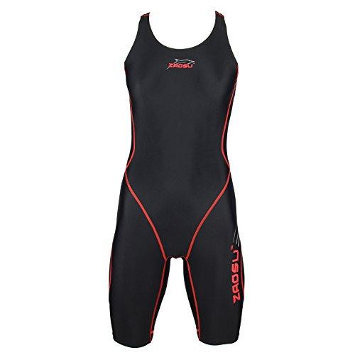 ZAOSU Wettkampf-Schwimmanzug Z-Black - Badeanzug für Mädchen und Damen, Größe:140, Farbe:schwarz/rot