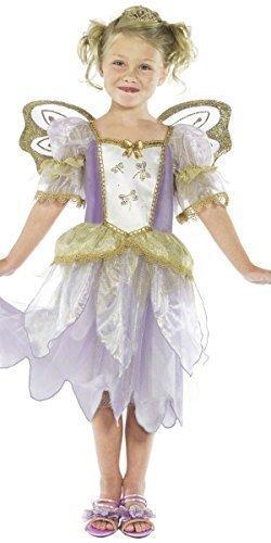 Mädchen-lila Blume Fee Prinzessin Angel & Wings Büchertag Kostüm Kleid Outfit - Lila, 4-6 (Blumen Fee Kostüm Für Kinder)