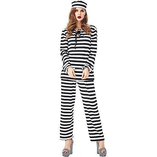 Männlich Kostüm Gefangener - ZmnXnm Halloween Gefangener Rollenspiel Anzug, Erwachsene Cosplay Neutrale Uniform, Anzug Schwarz Und Weiß Streifen, Gefangener Männlich Und Weiblich XL Streifen-Set