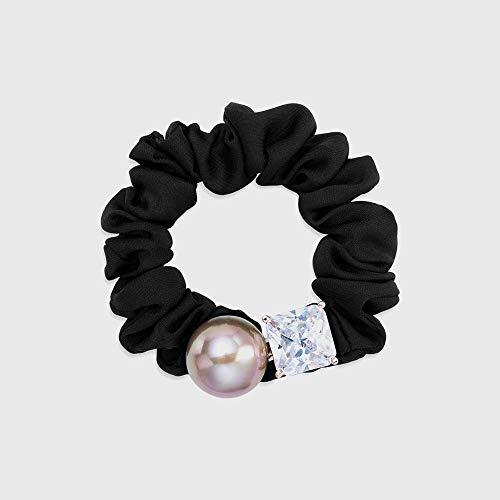votovcom Einfache und Elegante synthetische Zirkonia Pferdeschwanz Haar Ring Kopf Blume Haar Seil weiblichen Kopfschmuck, A Stretch-lycra-ring
