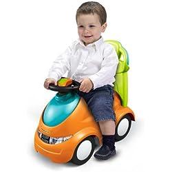 FEBER Push&Go- Porteur 4en1, pour enfants de 1 à 3 ans, Orange (Famosa 800008372)
