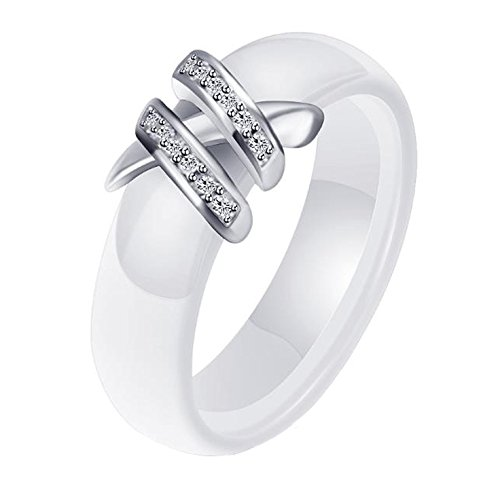 HIJONES Damen 6MM Weiß & Schwarz Keramik Ring Einfach mit Zirkonia Engagement Hochzeit Band Doppelt Weiß Größe 57