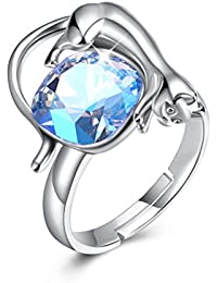 JINTOP Jewellery Austrian Aurora Crystal Ring Cat Shape Adjustable 925 Sterling Silver Any Occasions Gifts For Girls